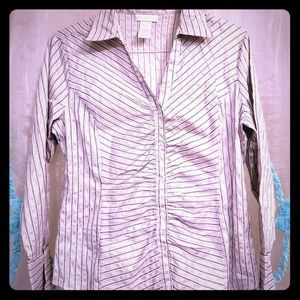 EUC Button-up Long Sleeve Striped Blouse